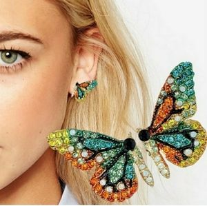 Boho Butterfly Multicolor Rhinestone Earrings